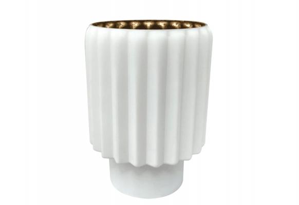 Wazon Kaja biały, matowy z błyszczącym złotym wnętrzem Home Decoration 20 cm
