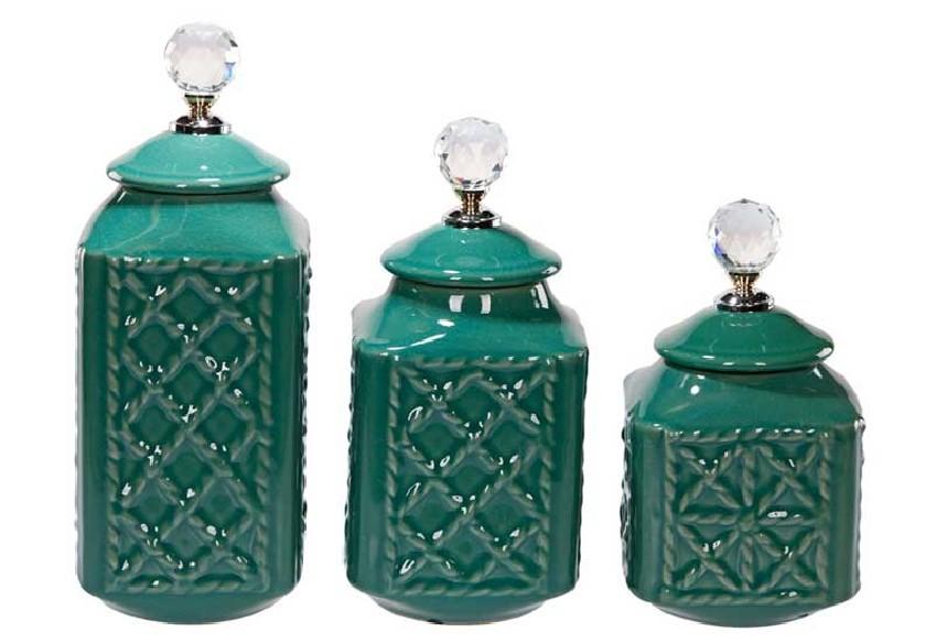 Zestaw 3 pojemników dekoracyjnych butelkowa zieleń