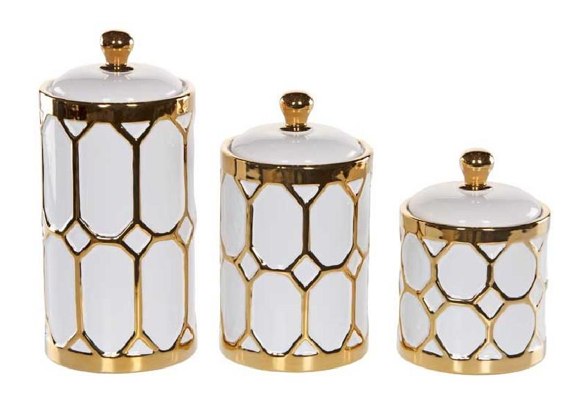 Zestaw 3 pojemników dekoracyjnych złoto-białych