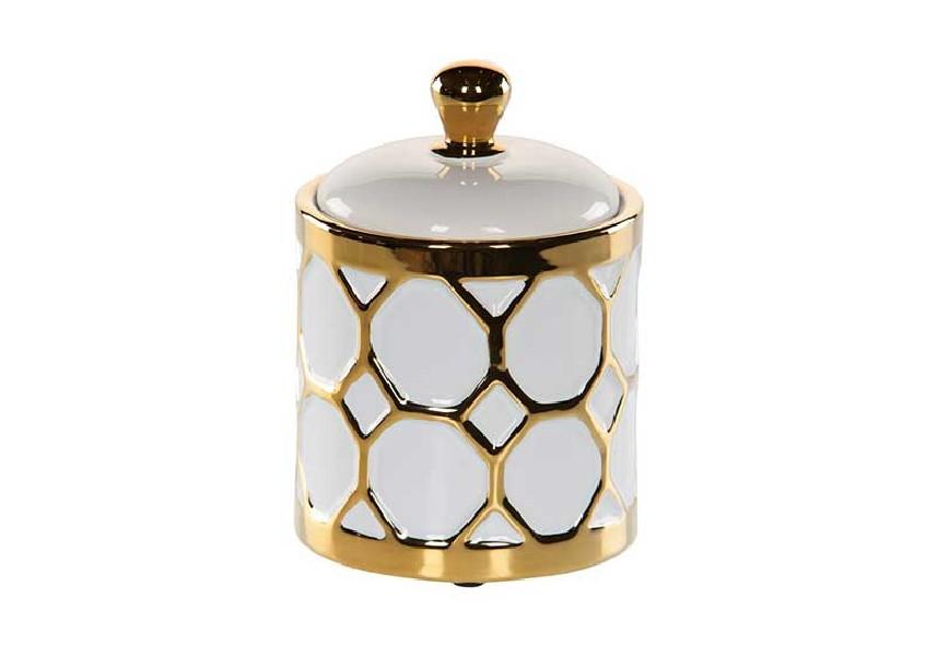 Pojemnik dekoracyjny biało-złoty Home Decoration