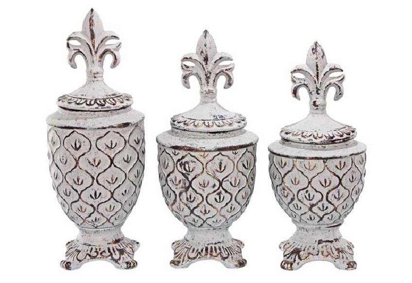 Pojemniki dekoracyjne ze złotymi przetarciami
