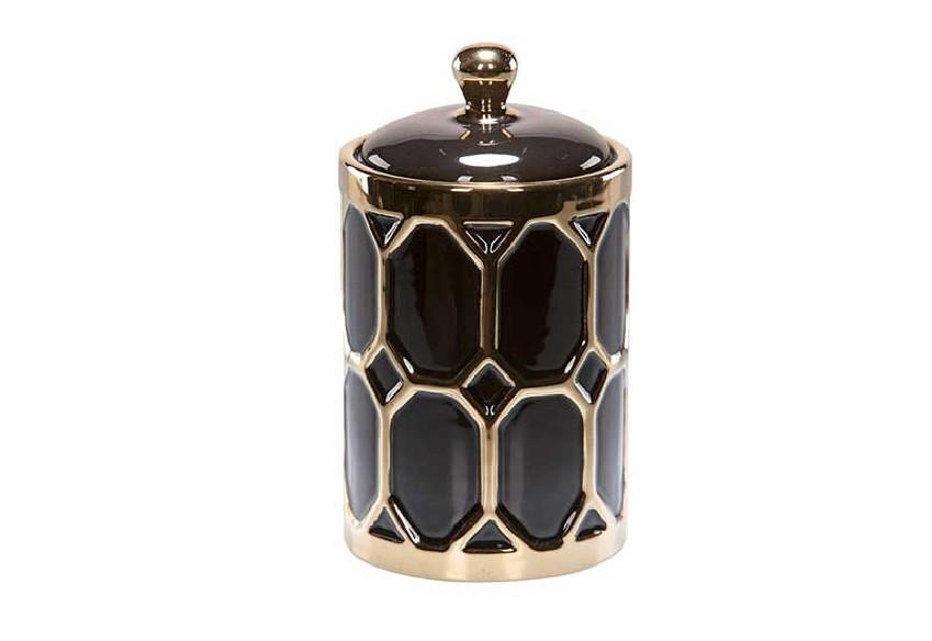 pojemnik dekoracyjny czarno złoty