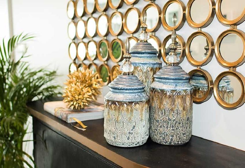 Pojemniki dekoracyjne niebiesko-brązowe