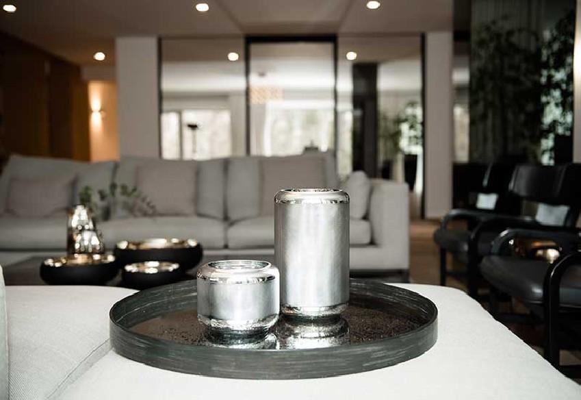 Wazon szklany srebrny