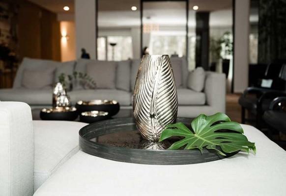 Wazon Liść szklany złoty Home Decoration