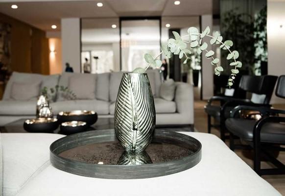 Wazon Liść szklany lśniąca zieleń Home Decoration